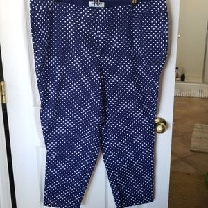 Old Navy blue and white polka dot pants/capris